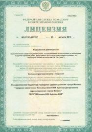 Приложение №1 к Лицензии Департамента здравоохранения города Москвы Правительства Москвы на осуществление медицинской деятельности